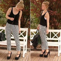 Bianca S - Gina Tricot Trousers, H&M Top, Ebay Body Chain, Justfab High Heels - Stripe expedition