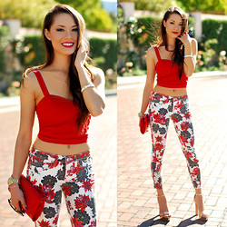 Jessica R. - Bebe Red Floral Denim, Windsor Store Red Crop Top, Hello Beautiful White Bangle, Dailylook Red Clutch - Rosy in Red