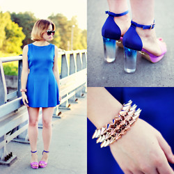 Wioletta Mary Kate - Choies Shoes, Woakao Dress, Sinsay Bracelet - Cobalt Dress & Ombre Heels
