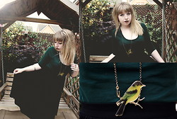 Sarah Worcester - Topshop Green Top, Asos Midi Skirt, Charity Shop Bird Necklace - Birdsong