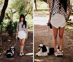 Carolina Barboza - Romwe Polka Dots Shirt, Romwe Skort, Emme Flats - I can't stop myself from smiling