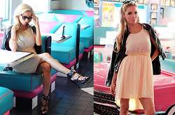 Caitlyn Wilson - Flea Market Black Leather Jacket, Fashion Q Chiffon Dress, Pinkbasis Black High Heels - Gold and Leather
