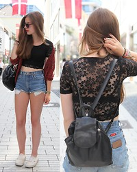 Laura A. - Topshop Sunglasses, Topshop Lace Crop Top, Urban Outfitters Cardigan, Rockit, London Secondhand Wrangler Shorts, Vans Shoes - A myth, now a certainty