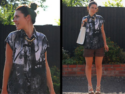 Evie Hart - Evie Hart Addison Shirt, New Look Spike Necklace, Topshop Wedges, Topshop Pleather Shorts, New Look Bag - Youth