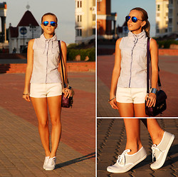 Iren P. - Centro Striped Trainers, Proenza Schouler Inspired Ps11 Bag, Ebay Blue Mirror Sunglasses - Sporty casual