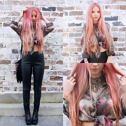 Caitlan Hammond - Pleather Pants, Thrifted Metallic Floral Top, Gypsy Choker - Flamingo girl