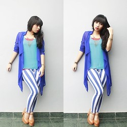 Sylvia Ratu Pevita - Unbrand Blue Long Cardi, Unbrand Blue Stripes Pants, Adorable Project Indonesia Marion Tan - Baby Blue