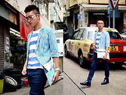 "Nick C - Burberry Metallic Striped T Shirt, Boutique Striped Blazer, Zara Blue Skinny Jeans, Swatch ""Boat Trip"" Watch, Le Saunda Blue Leather Dress Shoes - Streets of Hong Kong"