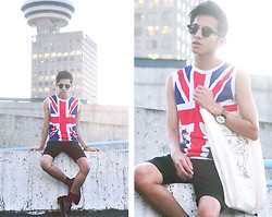 Mc kenneth Licon - Ray Ban Clubmaster Sunglasses, Vintage Tank, Triwa Nevil Watch, Board Of Trades Bag, Diy Shorts, Dr. Martens Brogues - Not so British