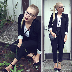 Joanna M - Zara Blazer, Nümph Pants, Zara Heels, Tiger Of Sweden Glasses - SUIT UP, GEEK