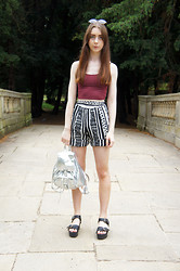 Chelsea Jade - H&M Crop Top, Flea Market Shorts, Claires Bag, China Sandals - Aztec and Metallic