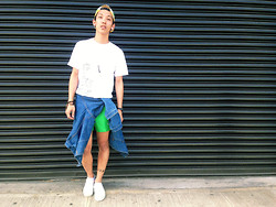 Brenton Nakamura - American Apparel Sunflower Cap, Hanes I'm A 90's B**** Tee, Second Hand Medium Wash Denim Jacket, Second Hand Bright Green Shorts, Vans White Slip Ons - I'm A 90's B****
