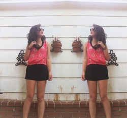 Chloe Ruth - Vintage Ray Bans, Urban Outfitters Crop Top, High Waisted Shorts - Little boxes on the hillside made of ticky-tacky