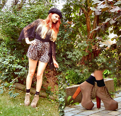 Liza LaBoheme - H&M Black Beret, H&M Black Lace Top, Cotton On Leo Shorts, Jeffrey Campbell Lita Platform Heels - A new tomorrow
