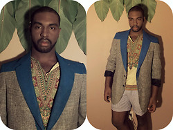Michael Logan - Blazer I Designed, American Apparel Cut Off Striped Shorts -                        Coming Up America