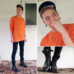 MARTAN . - Anerkjendt Sweater, Cheap Monday Denim, Zipia Boots, Flexi Fit Cap, Givenchy Tusks - ORANGE