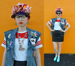 Zoe S. - Girl With The Flower Glittery Kawaii Headband, Giant Vintage Mickey Mouse Sunglasses - Denim Vest + Leather Mini
