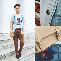 Rhonnel Tan Santos - Topman Denim Blazer, Topman Knitted Shirt, Oxygen Chinos, Zara Loafers, Bazaar Snatchel, Oxygen Red Socks - Kalsada.Ph
