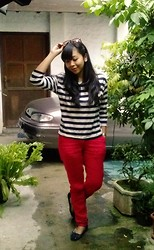 MD Ayomi - Online Shop Stripe T Shirt, My Design Linen Red Pants, Flat Shoes Ribbons - The Stripes