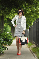 Shiny Syl - H&M Jacket, New Look Dress - Black and white check