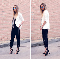 Stephanie Kramer - Windsor Smith Gillie Heels, Ray Ban Mirrors, Zara Pinstripe Suit Pants - Roulette