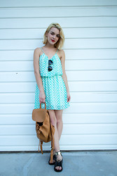 Lily McCune - Eikosi Style Jagged Arrow Dress, Coach Vintage Backpack - Minty Monday