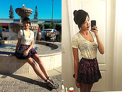 Michelle Pan - Thrifted Floral Tutu, Urban Outfitters Burnout V Neck, Studded Envelope Clutch - I can be your china doll if you wanna see me fall