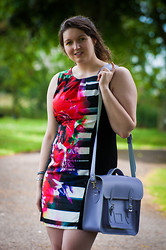 Kathryn W - Asda Shift Dress, Zatchel Purple Leather Satchel - Walk In The Park