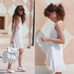 Anouska Proetta Brandon - Grafea Leather Rucksack, Missguided Dress, Office, Same Here: Shoes - White Out