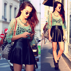 Alana Ruas - Chic Wish Crochet Top, Chic Wish Creepers, Romwe Skirt, Vanessa Mooney Necklace - Mint Floral.