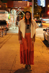 Morgan Zakarin - American Apparel Striped Body Suit, American Apparel Orange Pleated Skirt, Taupe Booties, Gap Sunglasses, Nasty Gal Shearling Jacket - Birthday Dinner