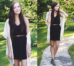 Breanne S. - Lulu*S Lace Kimono, Tobi Black Dress, Lulu*S Western Booties - Those Prairie Nights
