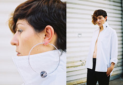 Milica Stojsic - Diy Marble Hoop Earring, Comme Des Garçons White Shirt, Diy+Thrifted Diy Edited Xxxl Male Pants - Guilt Free
