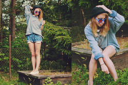 Catarina S. - Monki Hat, Asos Shades, H&M Collar Top, H&M Sweater, Vero Moda Shorts, Second Hand Loafers - Blueberry blue/