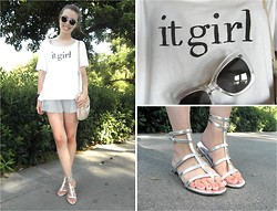 Victorias Run - Kling Shorts, Mango It Girl Shirt, & Other Stories Transparent Sunglasses, Mango Silver Sandals, Mango Bag - Transparent
