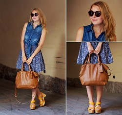 Jenni R. - Denim Top, Monki Floral Skirt, Massimo Dutti Leather Bag, Finsk Clogs, Weekday Sunglasses - Summer girl