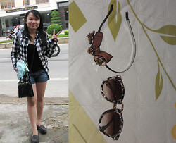 B T - Banana Republic Top, Leather With Diy Studs, Shirt - Checker shirt with jeans short
