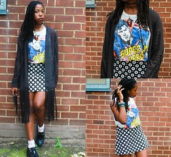 Martina McFarlane - Forever 21 Daisy Skirt, H&M Fringe Kimono, Necessary Clothing Graphic Comic Muscle Tee, T.U.K Creepers - Stranger Than Fiction