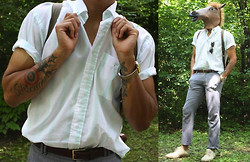 Stumbled Upon Easy - Thrifted Shirt, H&M Pants, Thrifted Belt, Ray Ban Sunglasses, Eddie Bauer Backpack, Casio Watch, Target Shoes - Sunny day.
