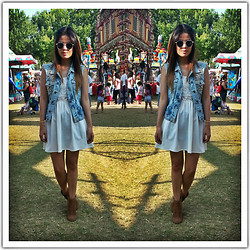 Ashley Romero - Diy Denim Vest, H&M Sun Dress, River Island Booties - Summer Daze