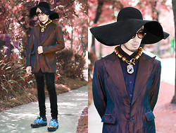 Andre Judd - Custodio Metallic Copper Blazer, Ken Samudio Floppy Hat, Ann Ong Barrel Neckpiece With Quartz, Lesmoda Rectangular Lens On Circular Frames, Prada Studded Golf Shoes - THE FALL