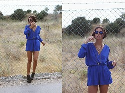 Mafalda Castro - Love Wrap Playsuit, Zerouv Sunglasses, H&M Shoes - Blue Like I've Never Known