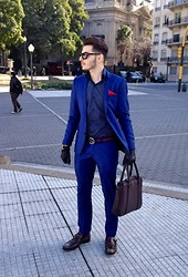 Miller Bernardo - Asos Blazer, Asos Pant, Gucci Belt, Zara Shirt, Prada Sunglasses, Prada Monk Strap, Zara Bag - Blue everywhere
