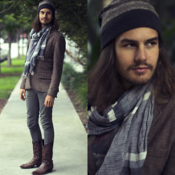 Brandon Martin - All Saints Beanie, Fink Clothing Blazer, Levi's® 510's, Tony Lama Cowboy Boots - Cold Summer