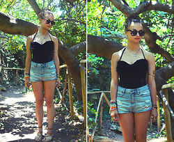 Leah C - Juicy Couture Crochet One Piece Bathing Suit, Bdg High Waisted Denim Shorts, The Poet Sandal Maker Handmade Leather Sandals, Urban Outfitters Sunglasses - In the Valley of the Butterflies
