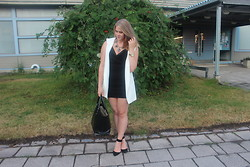 Nea S - Zara Bag, Zara Black Heels, Zara Little Black Dress, Zara Sleeveless Blazer, H&M Statement Necklace, Golden Watch - I'm up all night to get lucky