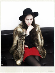 Maria Bystroletova - Maxmara Hat, River Island Coat, Chanel Watch, Vintage Skirt, Mango Blouse - Imma stranger here