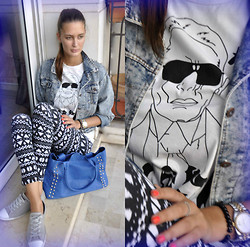 Amina Allam - Choies T Shirt, Choies Studded Denim Jacket, Melany Brown London Bag, Camaïeu Black&White Leggings, Converse Sneakers - Saturday with my friend Karl