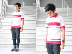 Reyner Cadapan - Well Off Red And White Polo Shirt, Sws Black Skinny Jeans, Fossil Vintage Digital Watch, Reaped Blue High Cut Boat Shoes - WITNESS