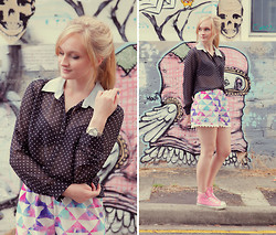 Izzy Bea - Kmart Polkadot Blouse, Sabo Skirt Illusion Print Shorts, Converse High Top Sneakers - KEEPING IT CASUAL